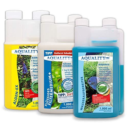 AQUALITY Aquarium 3er Starter- & Pflege-Sparset (Algenvernichter, Wasseraufbereiter, Filtermedium - Perfekter Start mit Allen wichtigen Produkten), Set-Größe:Set 1000