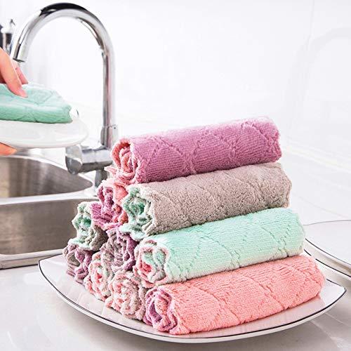 Paño de plato para la cocina, 12 PCS Toallas de cocina de fibra multiusos de doble capa Trapo de plato espesado para lavar (Mezclado,25 * 25cm)