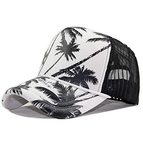Gorra de béisbol Respirable del Verano del Casquillo de la Red de la Esponja Impreso Sombrero para el Sol del árbol de Coco