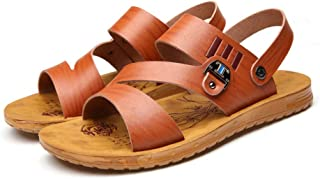 LFSP Classic Popular Sandals Beach Shoes Sandals for Men Fashion Slipper Shoes Slip On Style Microfiber Leather Metaldecor Fashion Stitching Dual Purpose A (Color : Brown, Size : 7.5 UK)