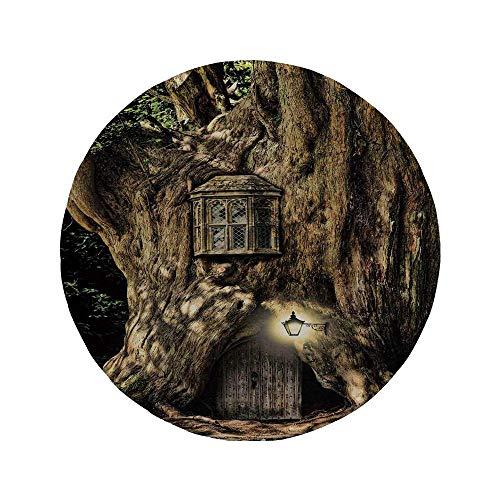 Rutschfreies Gummi-rundes Mauspad Fantasie Märchenhaus im Baumstamm im Wald mit Laternen Volksgeschichten unter dem Motto Design Umber Brown 7.9