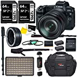 Canon EOS R Mirrorless Camera 24-105mm USM Lens Bundle with 64GB Memory Card, LED Light, 62