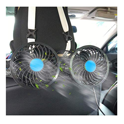 Ventilador de coche de doble cabezal, ventilador de refrigeración automático eléctrico, circulador de aire de verano, 12 V, rotación de 360 grados, ventiladores de vehículos colgantes para sedán,