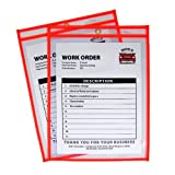 C-Line Neon Stitched Shop Ticket Holders, Orange, Both Sides Clear, 9 x 12 Inches, 15 per Box (43912)