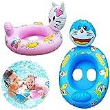 WENTS Anillo de natación Bebé 2Pcs Anillo de natación Inflable con Manija, Anillo de natación Asiento,Anillo de natación,Flotador de Piscina para niños, niñas (Gato KT, Gato Dingdong)