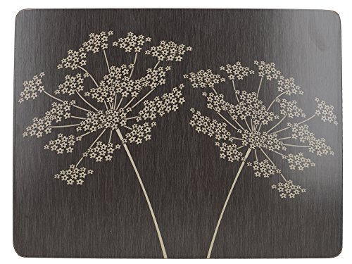 Creative Tops Wine Premium Lot de 6 Sets de Table avec Dos en liège, Bois Dense, Noir , Medium Placemats