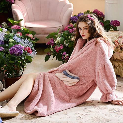Guiping Albornoz largo para mujer, bata de dormir para mujer, ropa de noche, vestido de noche, ropa de dormir, bata cálida (color: rosa, talla: XL)