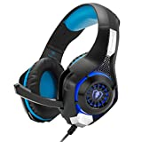 Cascos Gaming, GM-1 Auriculares Gaming para PS4/Playstation/Xbox One/PSP, Cascos con Microfono 3.5 mm Estéreo + USB Interfaz LED Luces Reducción Ruido Bass Surround - Negro Azul