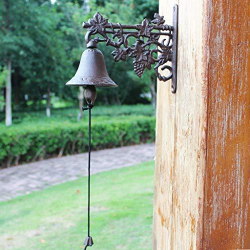 QARYYQ Nordic landelijke stijl druif smeedijzer decoratieve deurbel gietijzeren hand bel wanddecoratie 23.8x10.5x20.5cm deurbel