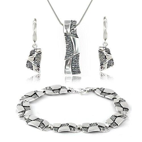 LillyMarie Damen Silber-Schmuckset Silber 925 Design-Anhänger Oxidiert Längen-verstellbar Schmucketui Geschenkideen für Frauen