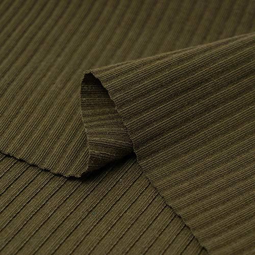Puur katoenen effen stof, legging met pitkoord met schroefdraad, geribd katoen-Legergroen