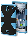 Aquos Crystal Case, Bastex Heavy Duty Hybrid Dynamic Protective Case - Soft Sky Blue Silicone Cover with Black Hard Shell Case for Sharp Aquos Crystal 306SH