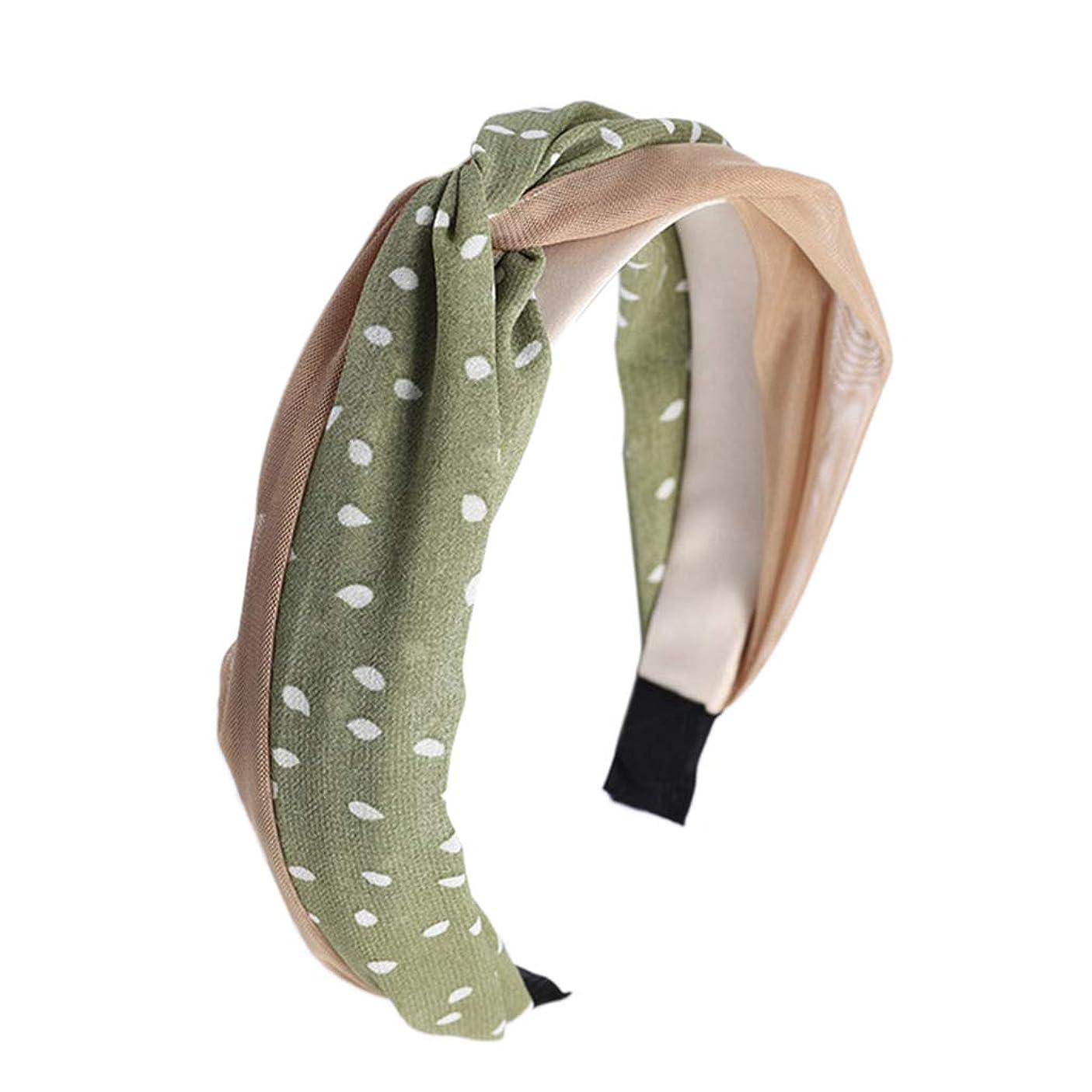 トラックベアリング古いManyao 韓国風の新鮮な女性のメッシュポルカドットヘッドバンドヴィンテージツイスト結び目ワイヤーヘアフープ (緑)