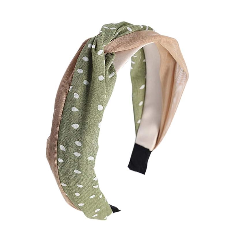 さらに退屈とげManyao 韓国風の新鮮な女性のメッシュポルカドットヘッドバンドヴィンテージツイスト結び目ワイヤーヘアフープ (緑)