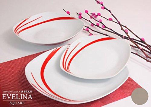 Albalù Italia Servizio Piatti da TAVOLA Colorati in Ceramica di Design Shabby Chic |6 Persone 18 Pezzi : 6 Piatti Fondi, 6 Piatti Piani, 6 Piatti Frutta