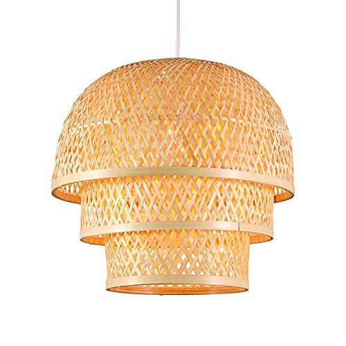 WANGYAN Lámpara Colgante De Tejido De Bambú Candelabro De Estilo Chino Pantalla De Mimbre Bambú Creativa Lámpara Decoración Arte Ratán con Linterna E27 Adecuado para Iluminación Techo Isla Cocina