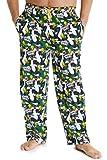 Looney Tunes Pantalon Pijama Hombre, Pantalon Pijama Hombre Invierno Algodon 100% con Personajes Bugs Bunny y Pato Lucas, Regalos Originales para Hombre (Verde, L)