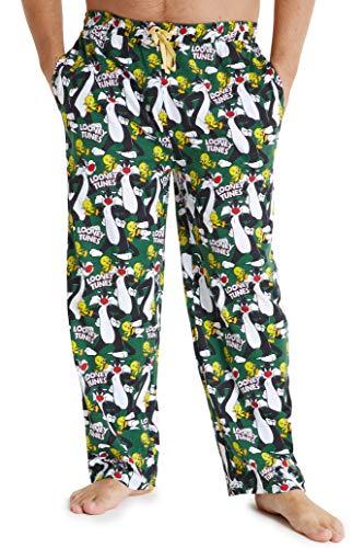 Looney Tunes Schlafanzughose Herren Lang, 100% Baumwolle Pyjamahose Männer Und Teens, Herren Loungewear, Lustige Freizeithose Herren, Geschenke Für Männer (Grün, XL)