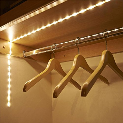 Decoration Lights,Battery Operated 1M LED Strip Light Wireless PIR Motion Sensor Wardrobe Cabinet (1, White)
