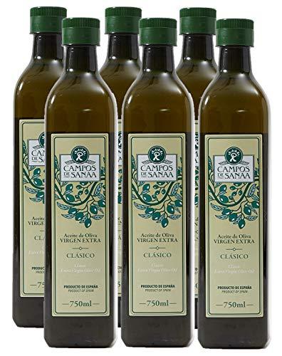 CAMPOS DE SANAA.- Caja de 6 botellas de Aceite de Oliva Virgen Extra Clásico ( 6x750ml )