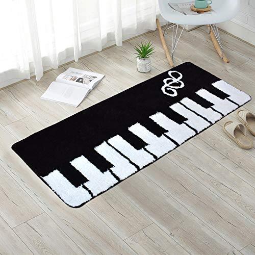 TEALP Piano Keyboard Rug Shaggy Mats for Music Studio Décor Non Slip Absorbent Bathroom Mat Anti Fatigue Kitchen Rug Living Room Floor Runner Rugs, 19.5'' x 48'', Black