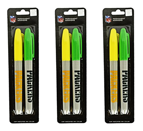 """Set of 6 NFL Green Bay Packers Themed Permanent Markers! Cap Indicates Color - 5.5"""" - Features Pocket Clip for Marking on the Go - Perfect for Home, School, or the Office!"""