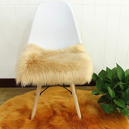 Nicole Knupfer Faux Lammfell Sitzkissen, Schaffell Sitzauflage Longhair Fell Optik Nachahmung Wolle Sofa Matte (Khaki,40 * 40cm)