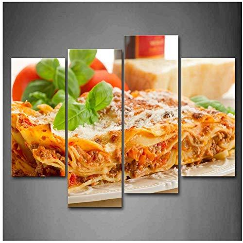 sjkkad Pasta met groene bladeren in borden en kaas muurkunst schilderij De afbeelding van eten foto's voor wooncultuur decoratie 40x80 40x100 cm geen lijst