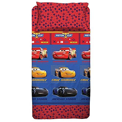 Juego de cama de Disney Cars individual, algodón, encimera, bajera y funda de almohada Disney original – Individual