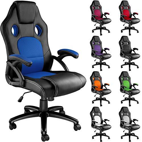 TecTake Silla de Escritorio de Oficina, Racing (Negro-Azul)