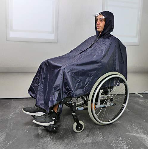 GD Import Rollstuhl Regencape Regenponcho Senior mit Ärmeln, Kapuze Regenschutz Rollator