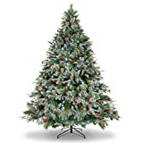 WBHome XMT-0001-70 7 Feet Snow Flocked Premium Spruce Hinged Artificial Christmas Tree, 1208 Branch Tips with Pine Cones, Unlit, 7ft, Green