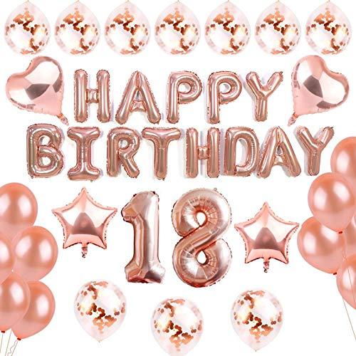 sancuanyi 18 Geburtstag Dekoration – 39 Stück Geburtstag Deko, Happy Birthday Banner, 18 deko Geburtstag für Mädchen und Jungen