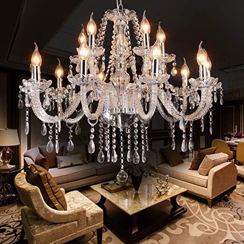 LIUMANG Modern Elegant 15 Lights K9 Crystal Glass Chandelier Pendant Ceiling Lighting European Style for Dining Living Room Bedroom Transparent,15 E12 Bulbs Required