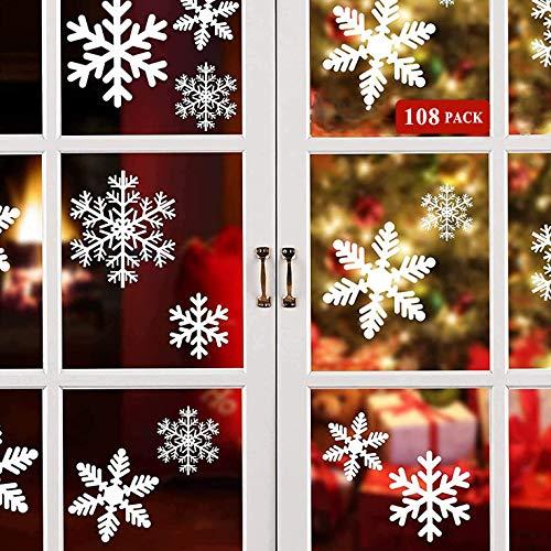 Wiederverwendbar Schneeflocken Fensterbilder, 108 Weihnachten Fensterdeko Selbstklebend Statisch PVC Aufkleber Fensteraufkleber, Fensterbild Weihnachtsbilder für Weihnachts Fenster Glas Weihnachtsdeko