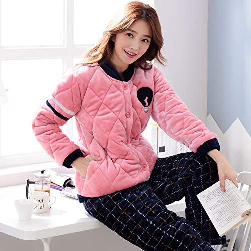 DFDLNL Conjunto de Pijama de Franela para Mujer, Ropa de Dormir de Invierno, Pijamas para Parejas, Conjuntos de Ropa para Amantes, Ropa de casa Informal XXL para Mujer