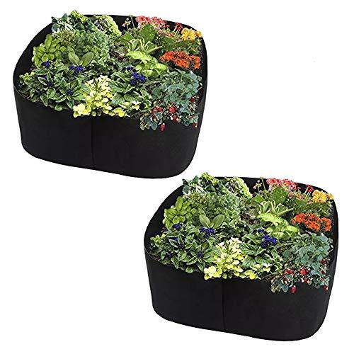 Pflanzbeutel, quadratisch, Stoff Hochbeet, verdickte Vlies-Pflanzbeutel, Anzuchttasche für Pflanzen, Blumen, Gemüse (2, 60 x 60 x 30 cm)
