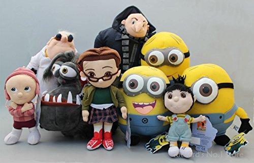 9 pcs/set Despicable ME Minions 3 Girls Agnes & 3 Minions Stewart Papa Gru Dog Kyle Nefario Soft Plush Toys Doll Kid Xmas Gift