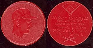 1955 Armour Coins Regular (Baseball) Card# 1 Johnny Antonelli (red)n.y. giants of the New York Giants NrMt Condition