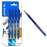 Pilot Spain Frixion Ball Bolígrafo borrable, 4 unidades, color azul + Pilot BLS-FR7-L-S3 Recambio Frixion, color azul, paquete de 3 unidades