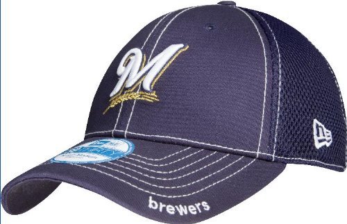 MLB Milwaukee Brewers Neo Fitted Baseball Cap, Navy, Medium/Large