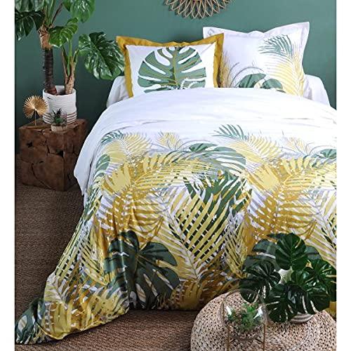J&K Markets - Funda nórdica de 220 x 240 cm y 2 fundas de almohada, 100% algodón de 57 hilos, color amarillo
