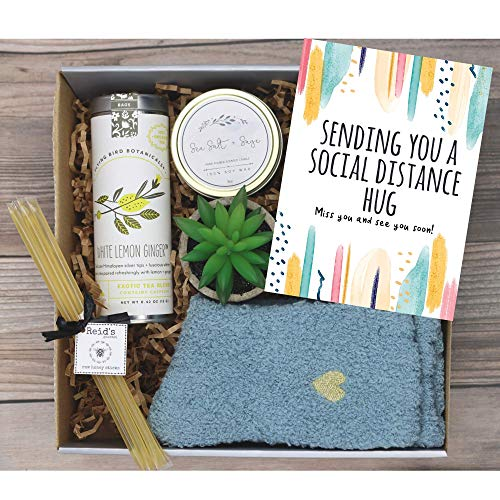 UnboxMe Care Package For Women   Feel Better Soon Get Well Soon Gift   Stress Relief Gift Self Care Encouragement Gift Nurse Gift Bff Gift, Cancer Gift Happy Birthday Gift (Social Distance Hugs Card)