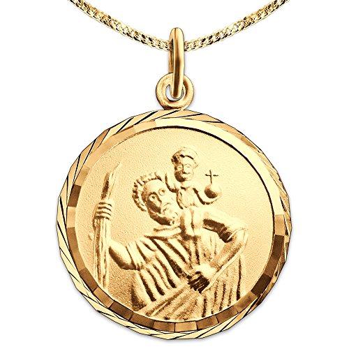 Clever Schmuck Set Goldener Anhänger Christopherus rund Ø 16 mm mit Rand diamantiert Rückseite Gott schütze Dich 333 GOLD 8 KARAT mit vergoldeter Kette Panzer 45 cm