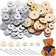 250 Pieces 5 Sets DIY Doll Toy Joints Accessories Rotatable Bear Doll Joints Connectors Movable Wood and Stainless Steel Joints Supplies for Doll Making Scrapbooking, 12/14/ 16/18/ 20 mm Wood Discs