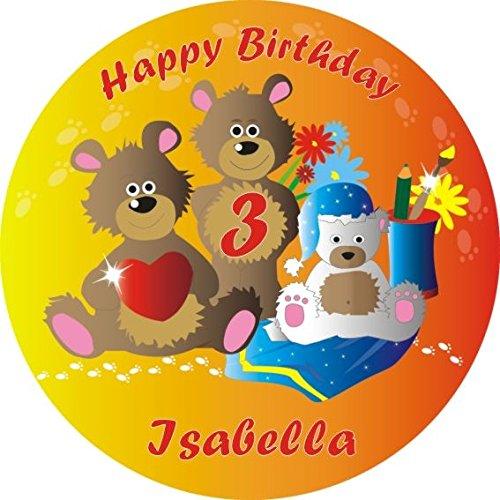Runder Kuchenaufleger für Ihre Mottoparty Teddybär zum Kleinkindergeburtstag +Name +Alter vom Geburtstagskind, mit Tortenbeschriftung HAPPY BIRTHDAY, die Überraschung zum Kindergeburtstag Ihres kleinen Jungen oder Mädchens