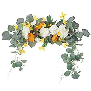 Silk Flower Arrangements CHOEBY Artificial Rose Flower Swag, 19.6in Decorative Swag with Eucalyptus Leaves Floral Swag for Lintel Front Door Wreath for Home Party Wedding Decoration