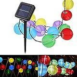 Wasserfest Outdoor Laterne Solar Lichterkette Lampions,5m 20 LED Warmweiß Solar Beleuchtung, für...