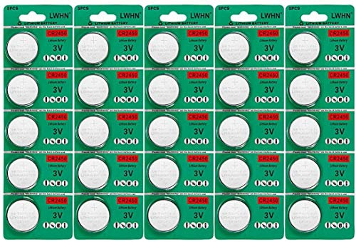 CR2450 3v Lithium Batterie CR 2450 Coin Cell Battery mit Kapazität 650mAh 25 Pack für Led Candles