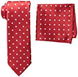 Stacy Adams Men's Tall-Plus-Size Satin Dot Tie Set Extra Long, Fire Red, One Size